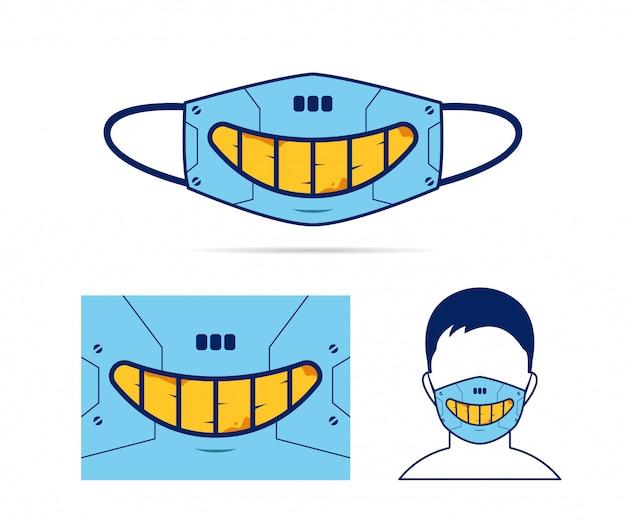 Web mascarilla de tela con espeluznante sonrisa malvada de robot cyborg cyberpunk boca ilustración