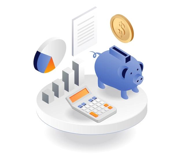 Webahorrar dinero en una alcancía y calcular los ingresos por inversiones