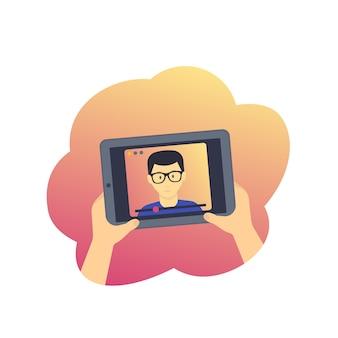Webinar, educación en línea, e-learning, tableta con ilustración de video conferencia