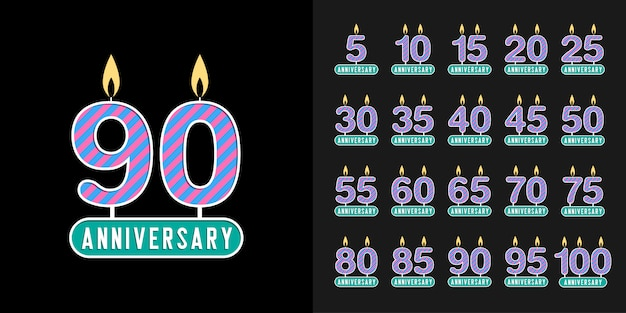 Webset de logotipo de aniversario