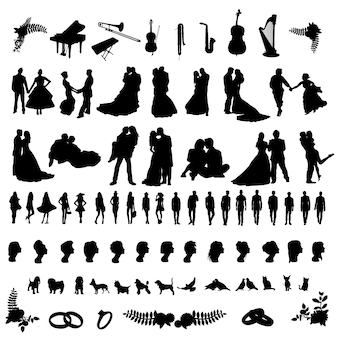 Wedding party people silhouette clip art