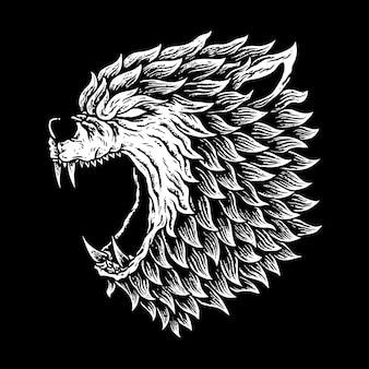 Werewolves de la cabeza, lobo humano, etiquetas o logotipo,
