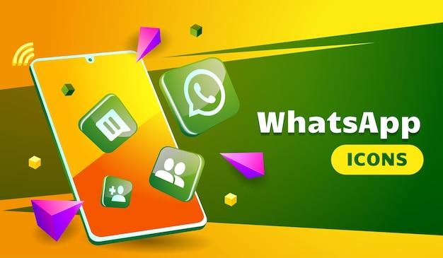 Whatsapp 3d contras sofisticado con smartphone