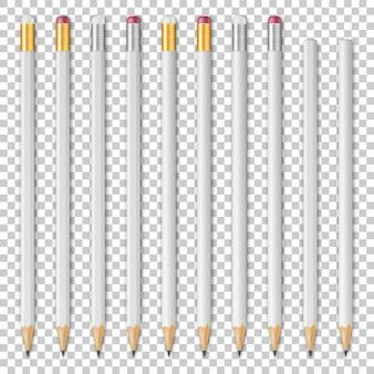 Whete realista lápiz de madera conjunto de iconos de plantilla de diseño aislado maqueta