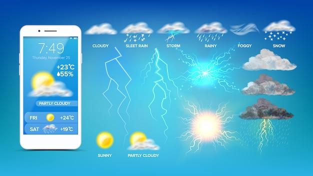 Widget meteorológico en línea en la pantalla del teléfono inteligente