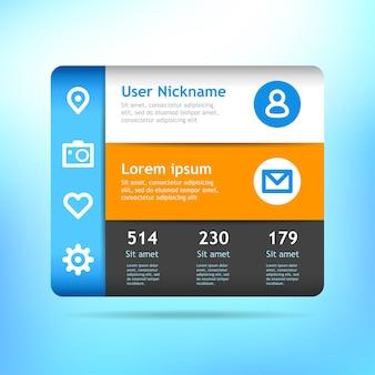 Widget. perfil para redes sociales. aplicación mínima para web o dispositivos móviles.