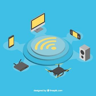 Wifi y tecnología con diseño plano