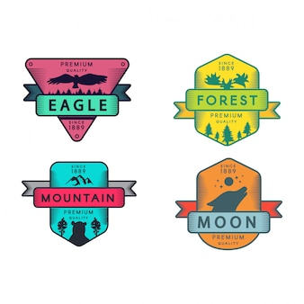 Wild eagle and mountain, moon and forest set logo