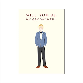 Will you be my groomsmen retrato de personaje de dibujos animados lindo