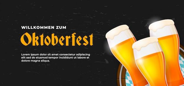 Willkommen zum oktoberfest póster diseño de plantilla de banner