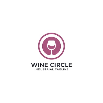 Wine and circle logo premium