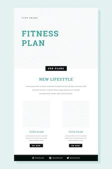 Wireframe de correo electrónico de fitness creativo