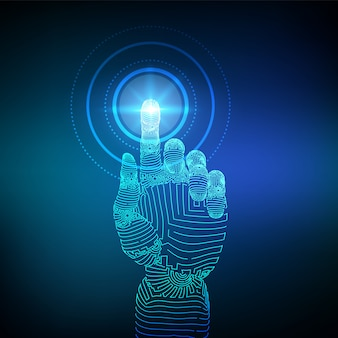 Wireframe mano robótica tocando la interfaz digital. concepto futurista de robótica.