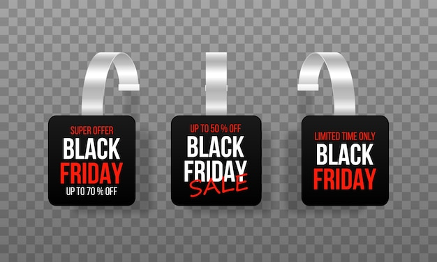 Wobblers de etiquetas de ventas negras con texto oferta especial de etiqueta de descuento de vector