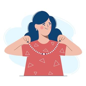 Womann con un vestido rojo se pone un collar alrededor del cuello.