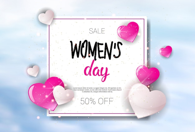 Womens day sale holiday shopping promotion banner descuento poster background