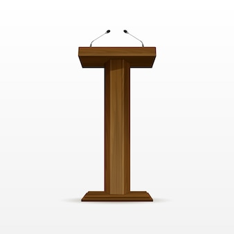 Wood podium tribune rostrum stand con micrófonos