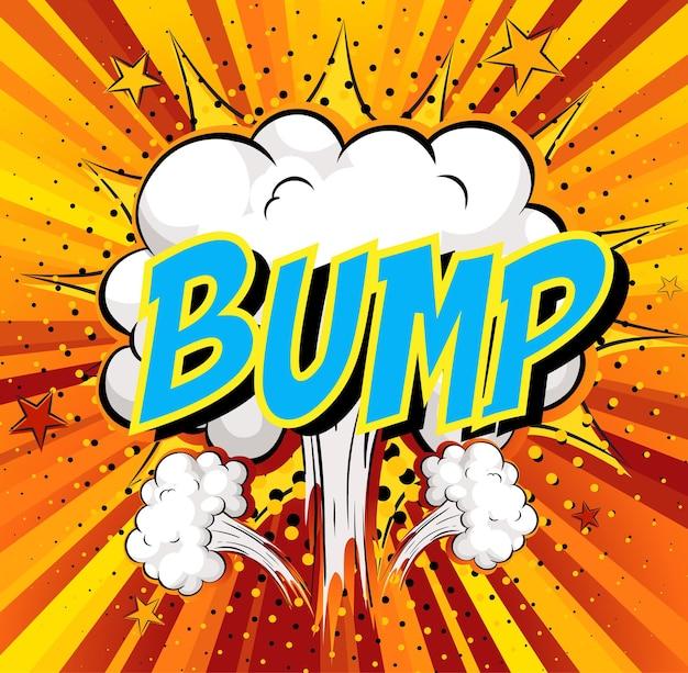 Word bump sobre fondo de explosión de nube cómica