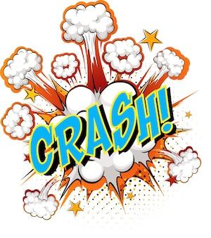 Word crash sobre fondo de explosión de nube cómica