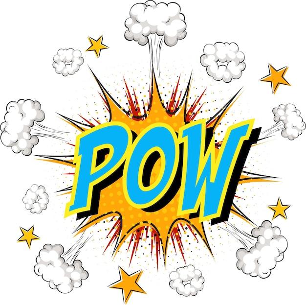 Word pow en explosión de nube cómica