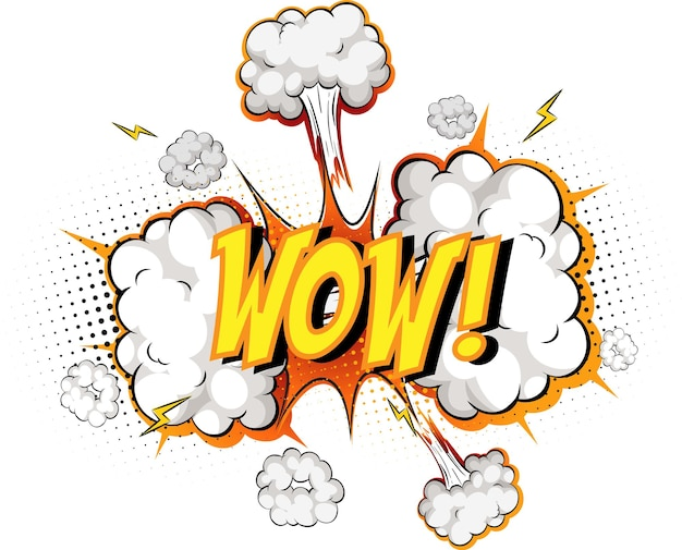 Word wow en explosión de nube cómica