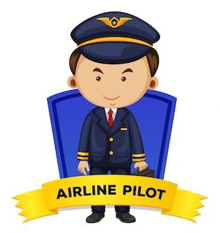 Wordcard de ocupación con piloto de línea aérea