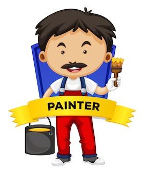 Wordcard de ocupación con pintor