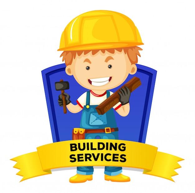 Wordcard de ocupación con servicios de construcción