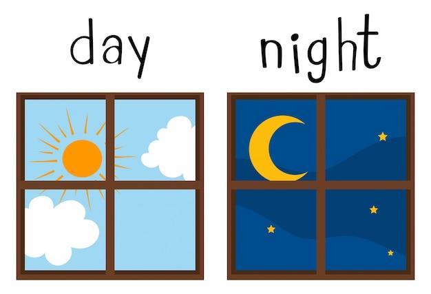 Wordcard opuesto para el día y la noche