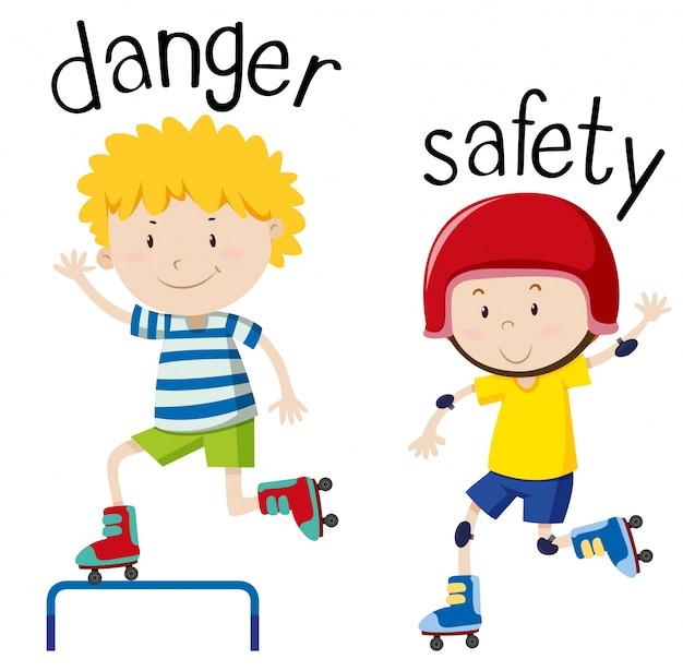 Wordcard opuesto para peligro y seguridad