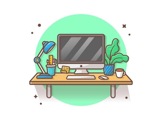 Workdesk vector icono ilustración. escritorio y lámpara, café, papelería, planta, oficina icono concepto blanco aislado