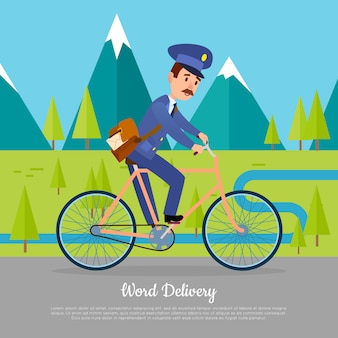 World delivery banner postman. cartero en bicicleta