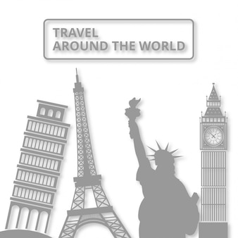 World landmar symbol viaje alrededor del mundo