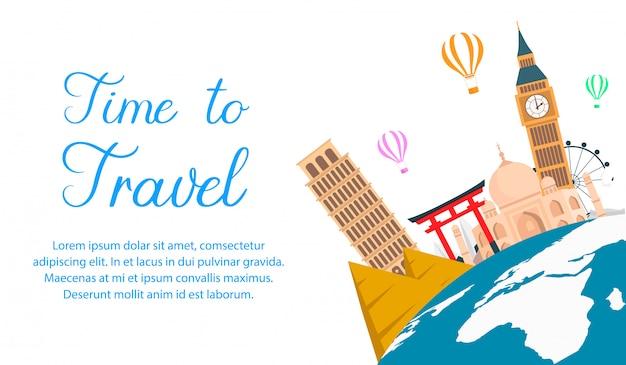 World tour color vector banner con espacio de texto.