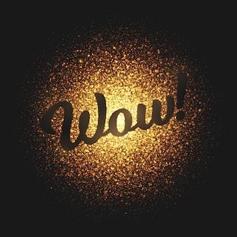 Wow oro partículas vector letras