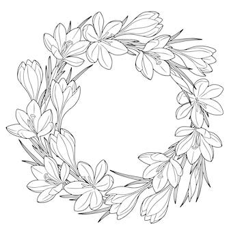 Wreafh con flores de primavera azafrán