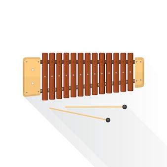 Xilófono de madera con palos en blanco