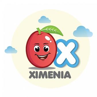 Ximenia mascota con la letra x