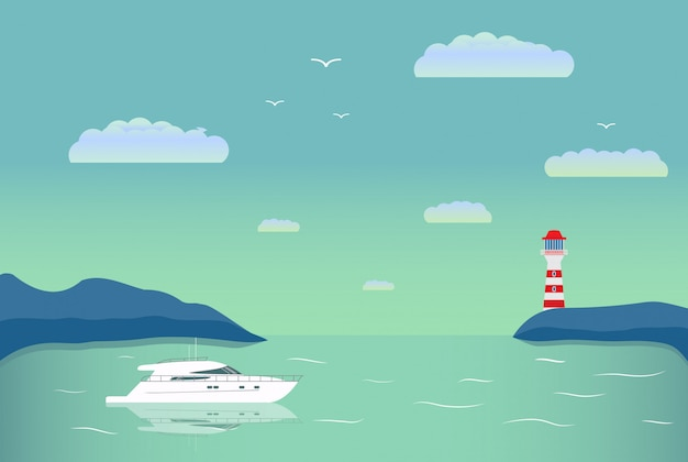 Yate de paisaje de verano. crucero turístico en el barco de mar. faro de navegación.