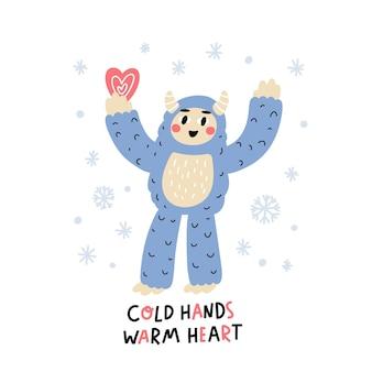 Yeti de carácter divertido con corazón e inscripción corazón cálido de manos frías