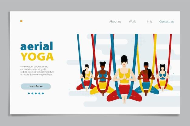 Yoga aéreo. la mujer se sienta en una posición de loto, con las piernas cruzadas y meditando. ilustración plana en la página de destino.