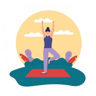 Yoga al aire libre en estilo plano