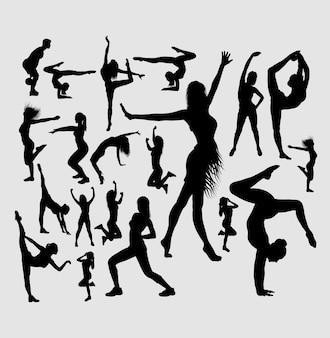 Yoga, baile, acrobat deporte silueta.