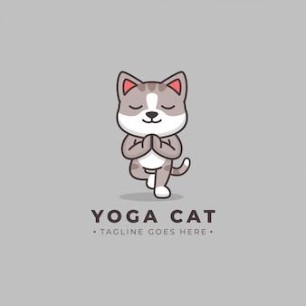 Yoga cat cartoon logotipo