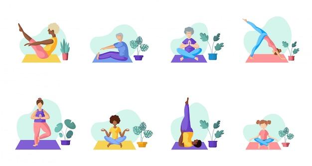 Yoga diferentes personas
