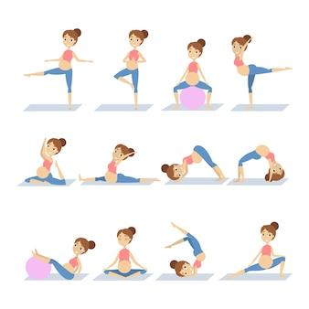 Yoga para embarazadas conjunto de ejercicios en blanco.
