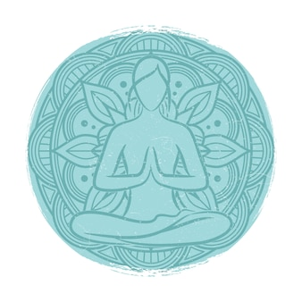 Yoga equilibrio silueta femenina. flor mandala y meditacion mujer.