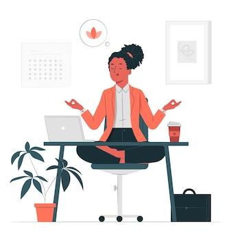 Yoga en la ilustración del concepto de oficina