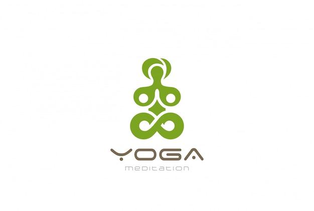 Yoga meditación logo vector vintage icono.