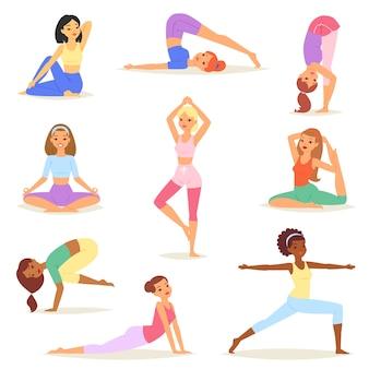 Yoga mujer vector mujeres jóvenes yogui carácter entrenamiento ejercicio flexible pose ilustración conjunto de entrenamiento de estilo de vida de niñas sanas con meditación equilibrio relajación aislado